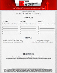 1 page productivity planner